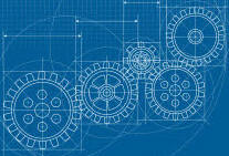 Blueprint of a gear train.